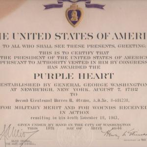 2nd Lt Strawn's Purple Heart